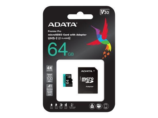 ADATA MicroSDXC 64GB AUSDX64GUI3V30SA2-RA1