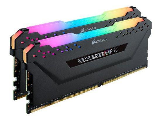 CORSAIR 32GB=2x16GB DDR4 3466MHz VENGEANCE RGB PRO BLACK s RGB LED CL16-18-18-36 1.35V XMP2.0 (RGB LED, 32GB=kit 2ks 16GB s černým chladičem)