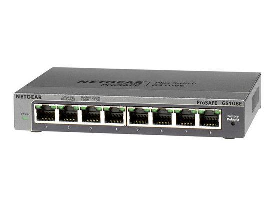Netgear PLUS SWITCH, 8xGbE (mngt. via PC utility-VLANs, IGMP, Rate Limiting, etc.), GS108E-300PES