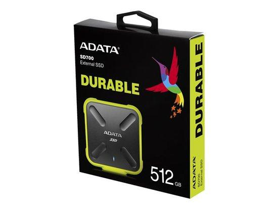 ADATA externí SSD SD700 512GB, 440/430MB/s, USB3.1, žlutá, ASD700-512GU3-CYL
