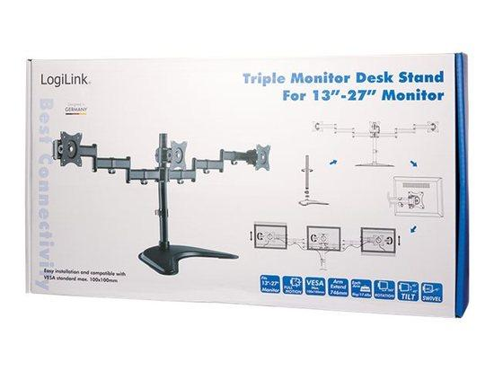 LOGILINK - Triple monitor desk stand,13-27``, max. 8 kg, BP0051