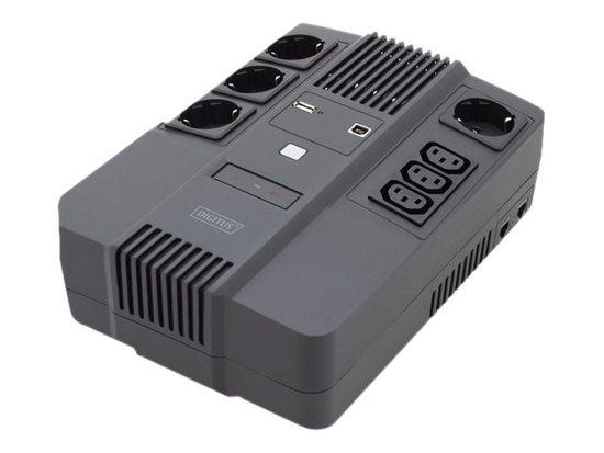 DIGITUS UPS Line-Interactive 800VA/480W AVR 4xSCHUKO 3xIEC C13 1xUSB A/B RJ45, DN-170111