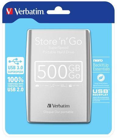 Verbatim Store `n` Go externí HDD USB 3.0 Portable 2.5`` 500GB, stříbrný, 53021