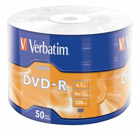 VERBATIM DVD-R DataLife 4,7GB, 16x, wrap 50 ks, 43791