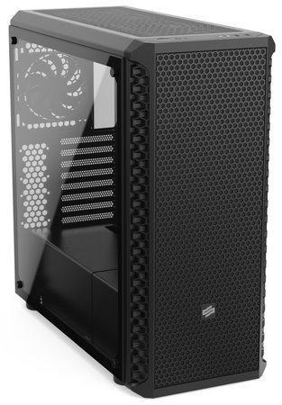 SilentiumPC skříň MidT Signum SG7V TG Pure Black / 2x USB 3.0 / 4x 120mm fan / tvrzené sklo / černá, SPC249