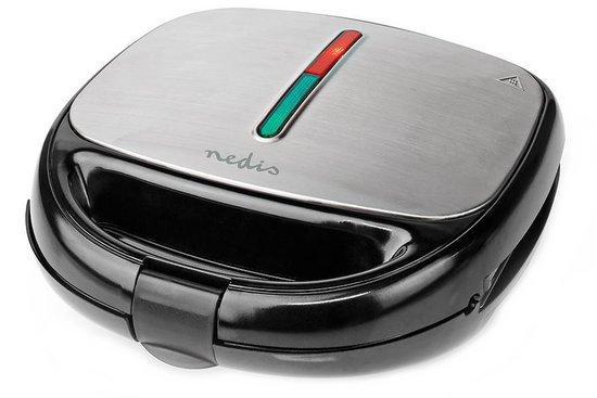 NEDIS multifunkční gril/ příkon 800 W/ topinkovač/vaflovač/gril/ velikost desky 21,5x12 cm/ černo-stříbrný