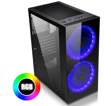 EVOLVEO Ptero Q20, case ATX, 2x USB2.0 / 1x USB3.0 1x HD Audio, 2x 200mm RGB, prosklené bočnice, černý, ptero Q20