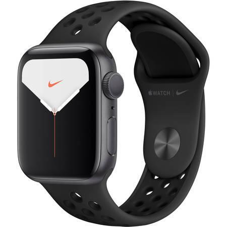 Chytré hodinky Apple Watch Nike Series 5 GPS 40mm pouzdro z vesmírně šedého hliníku - antracitový/černý sportovní řemínek Nike