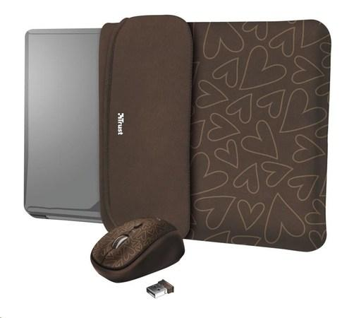 """TRUST myš + obal na notebook Yvo Reversible 15.6"""" Laptop Sleeve and Wireless Mouse - Brown Hearts, 23446"""