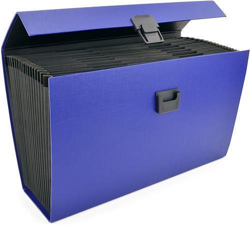 Aktovka na dokumenty, s držadlem, modrá, 19 přihrádek, A4, PP, RAPESCO, 1553