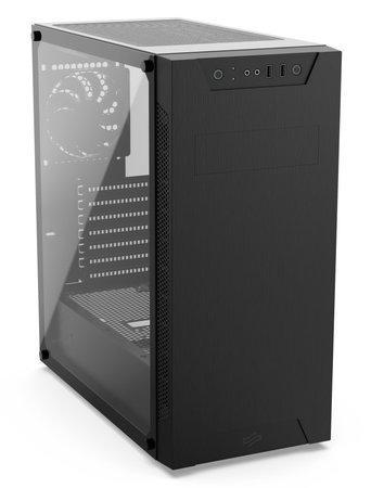 SilentiumPC skříň MidT Armis AR6 TG / 2x USB 3.0 / 2x 120 mm fan / tvrzené sklo/ černá, SPC255