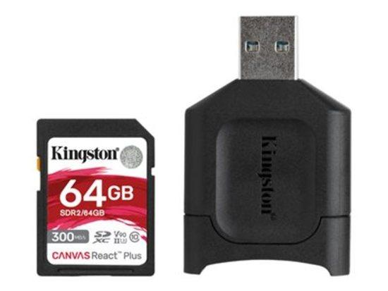Kingston paměťová karta 64GB SDXC React Plus SDR2 + MLP SD Reader