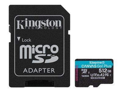 Kingston paměťová karta 512GB microSDXC Canvas Go Plus 170R A2 U3 V30 Card + ADP