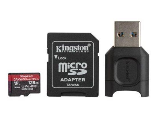 Kingston paměťová karta 128GB microSDXC React Plus SDCR2 w/Adapter + MLPM Reader