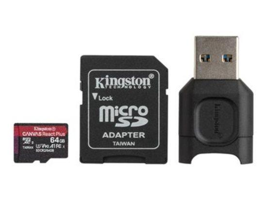 Kingston paměťová karta 64GB microSDXC React Plus SDCR2 w/Adapter + MLPM Reader