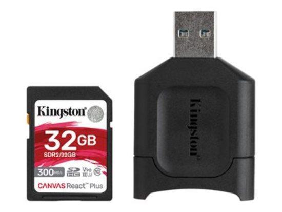 Kingston paměťová karta 32GB SDHC React Plus SDR2 + MLP SD Reader