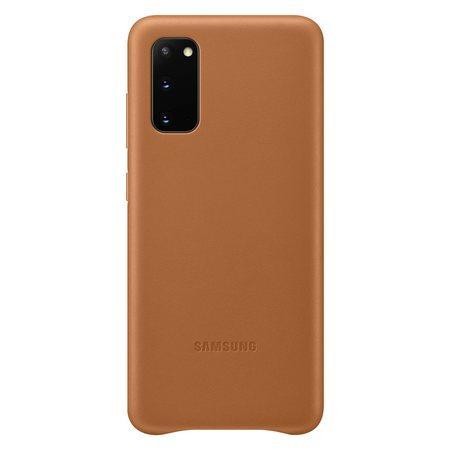 Kožený zadní kryt Samsung Galaxy S20 Brown