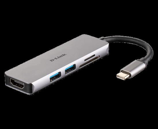 D-Link 5-in-1 USB-C Hub with HDMI and SD/microSD Card Reader, DUB-M530