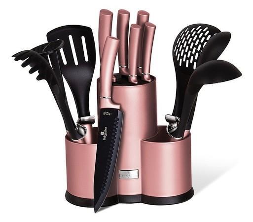 Berlingerhaus Sada nožů a kuchyňského náčiní ve stojanu 12 ks I-Rose Edition