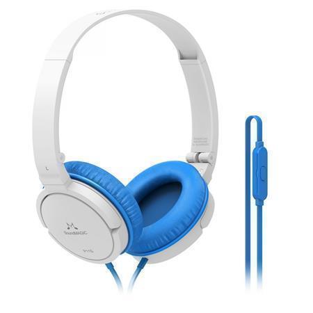 """Sluchátka """"P11S"""", bílo-modrá, s vestavěným mikrofonem, SOUNDMAGIC"""