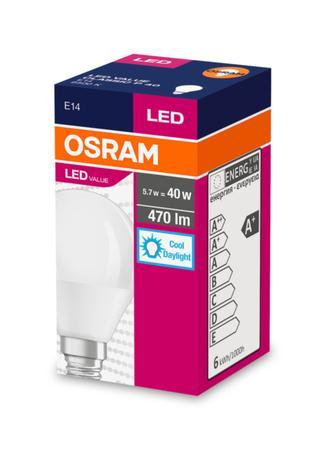 OSRAM LED VALUE ClasP 230V 5,7W 865 E14 noDIM A+ Plast matný 470lm 6500K 10000h (krabička 1ks)