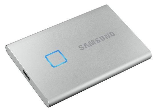 SSD 500GB Samsung externí T7 Touch, stříbrný, MU-PC500S/WW