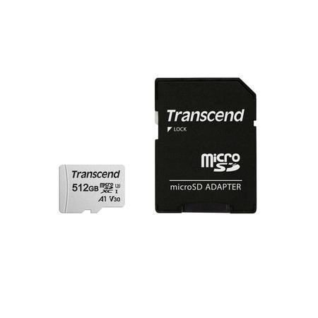 Transcend 512GB microSDXC 300S UHS-I U3 V30 A1 (Class 10) paměťová karta (s adaptérem), 95MB/s R, 40MB/s W