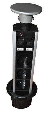 Zásuvkový system 2300-180 telescop 3x220V + RJ45+RJ11