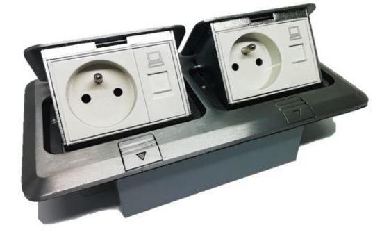 Podlahová zásuvka 1x230V+1xRJ45 Dvojítá
