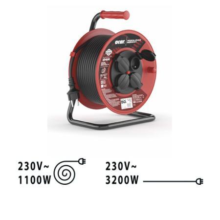 220V prodlužovací kabel 4 zás, na bubnu 50m IP44, 5901791900133