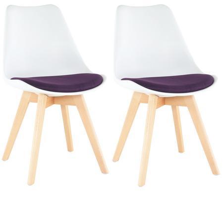 Tempo Kondela 2 kusy, Židle, bílá / fialová, DAMARA