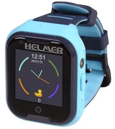 HELMER dětské hodinky LK 709 s GPS lokátorem/ dot. display/ 4G/ IP67/ micro SIM/ videohovor/ foto/ Android a iOS/ modré