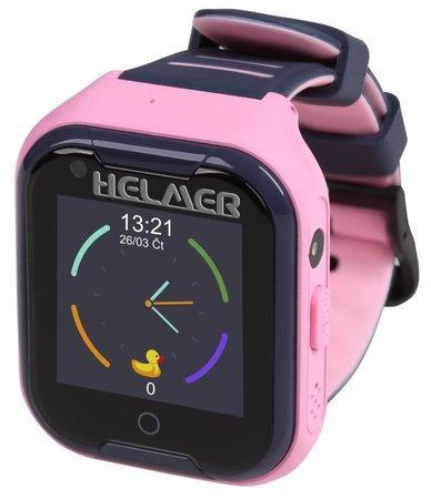 HELMER dětské hodinky LK 709 s GPS lokátorem/ dot. display/ 4G/ IP67/ micro SIM/ videohovor/ foto/ Android a iOS/ růžové