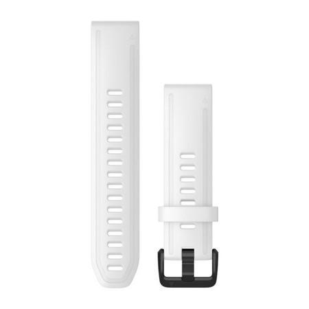 Řemínek Garmin QuickFit 20mm pro Fenix5S/6S, silikonový, bílý, černá přezka