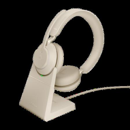 Jabra Evolve2 65, Link380a MS Stereo Stand Beige