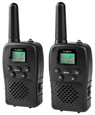 NEDIS vysílačka/ dosah 10 km/ 8 kanálů/ UHF/ VOX/ LED světlo/ dobíjecí baterie/ micro USB/ 2 kusy/ černá
