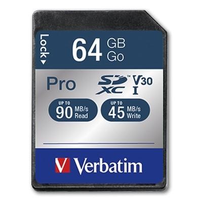"""Paměťová karta """"PRO"""", SDXC, 64GB, C10/U3, 90/45MB/sec, VERBATIM"""