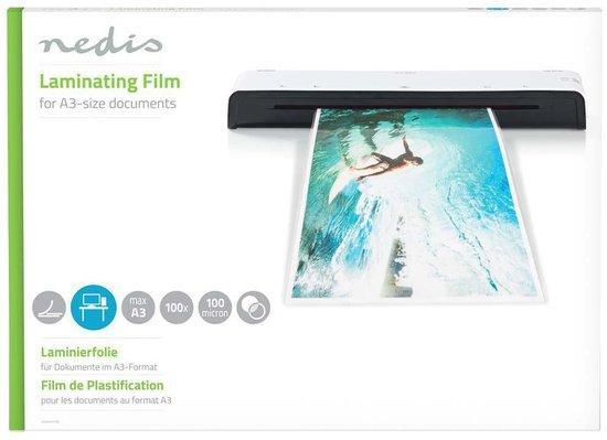 NEDIS laminovací fólie/ formát A3/ 100 mic/ rozměr 426 x 303 mm/ transparentní/ 100 pack, LAMIA3AT100