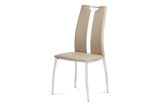 Autronic AC-1296 CAP Jídelní židle koženka cappuccino / chrom