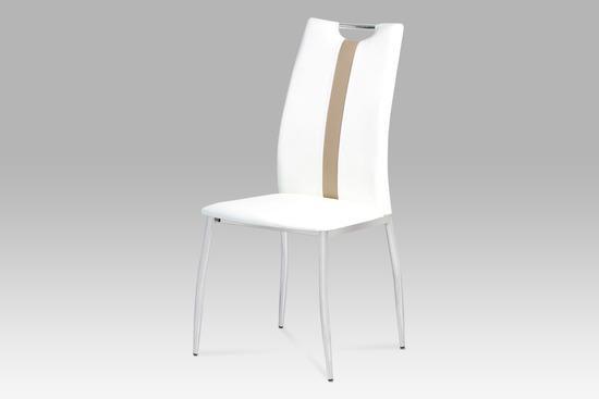 Autronic AC-1296 WT Jídelní židle koženka bílá / chrom