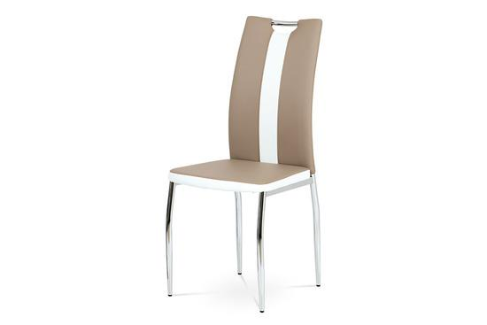 Autronic AC-2202 CAP Jídelní židle koženka cappuccino + bílá / chrom