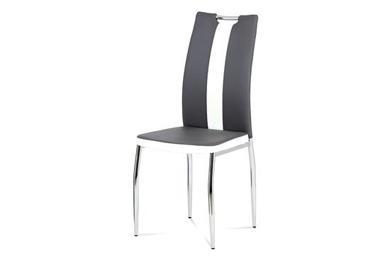 Autronic AC-2202 GREY Jídelní židle koženka šedá + bílá / chrom