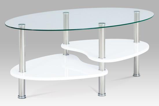 Autronic ACT-007 WT1 Konferenční stolek, sklo / police vysoký lesk bílý / leštěný nerez