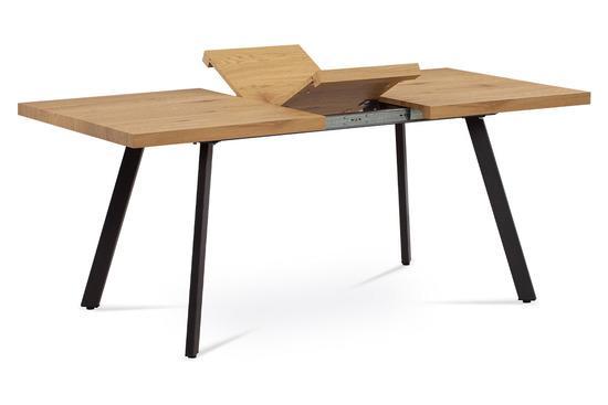 Autronic AT-1120 OAK Jídelní stůl 140+40x85x76 cm, MDF deska, 3D dekor dub, kovové nohy, antracitový matný lak