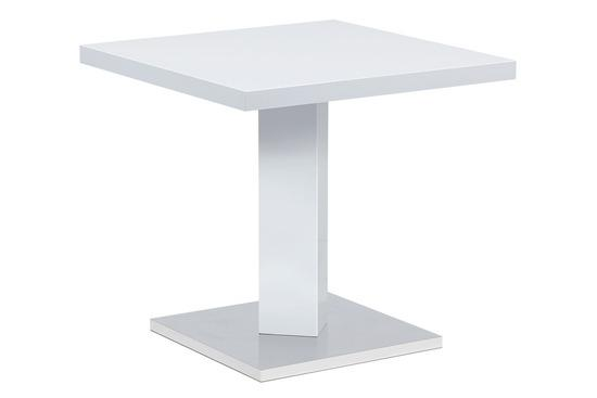 Autronic AT-4001 WT Jídelní stůl 80x80, bílá MDF vysoký lesk, podstavec chrom