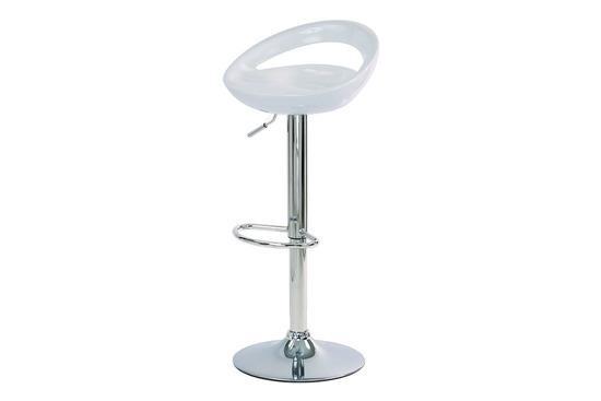 Autronic AUB-404 WT Barová židle, bílý plast, chromová podnož, výškově nastavitelná