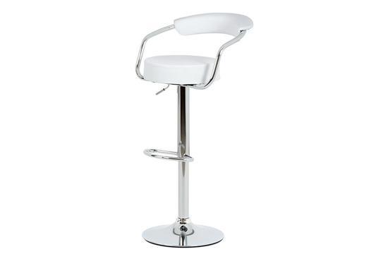 Autronic AUB-442 WT Barová židle, bílá ekokůže, chromová podnož, výškově nastavitelná