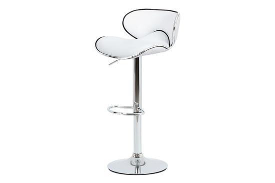 Autronic AUB-455 WT Barová židle, bílá ekokůže, chromová podnož, výškově nastavitelná