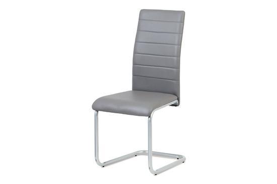 Autronic DCL-102 GREY Jídelní židle, koženka šedá / šedý lak