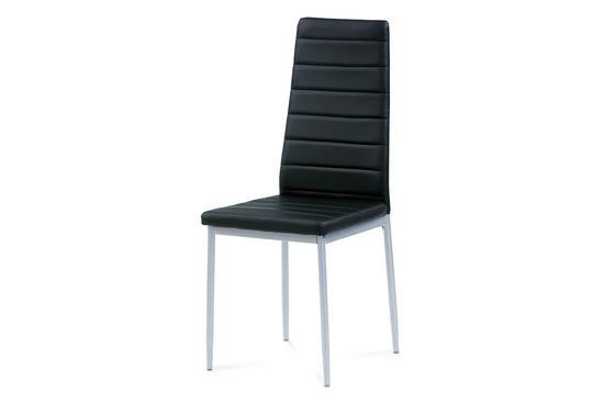 Autronic DCL-117 BK Jídelní židle koženka černá / šedý lak